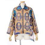 エルメス 古着 ブラウス ビーチシャツ ブラウス モダンなバックル Bouclerie moderne オレンジ コットン 36 (004755937)ブランド古着通販ビークロージング
